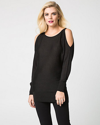 Lurex Scoop Neck Cold Shoulder Sweater