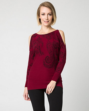Paisley Print Viscose Blend Sweater
