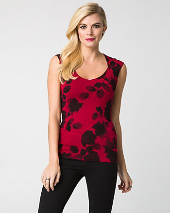 Floral Print Viscose Blend Sweater Tank