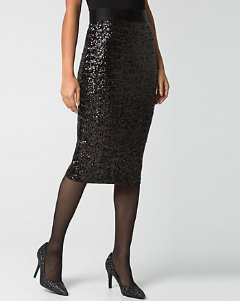 Sequin & Knit Midi Skirt