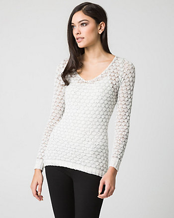 Metallic Knit V-Neck Sweater