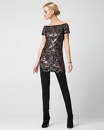 Sequin & Lace Scoop Neck Tunic Top