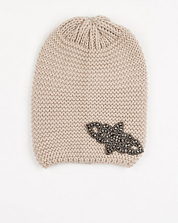 Embellished Rib Knit Hat