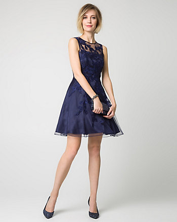 Lace & Chiffon Scoop Neck Cocktail Dress