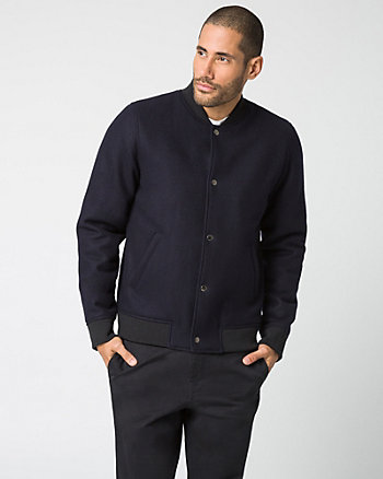 Melton Slim Fit Bomber Jacket