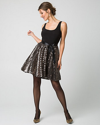 Sequin & Knit Fit & Flare Cocktail Dress