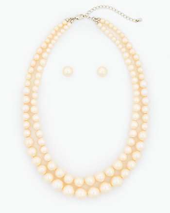 Pearl-Like Earrings & Necklace Set