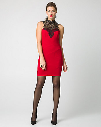 Knit & Lace Illusion Mini Dress