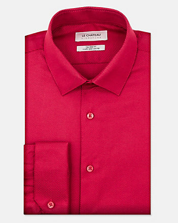 Tonal Cotton Blend Tailored Fit Shirt