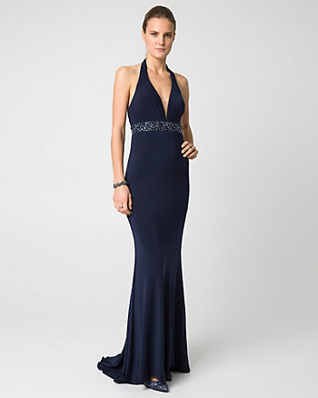 Embellished Jersey V-Neck Gown