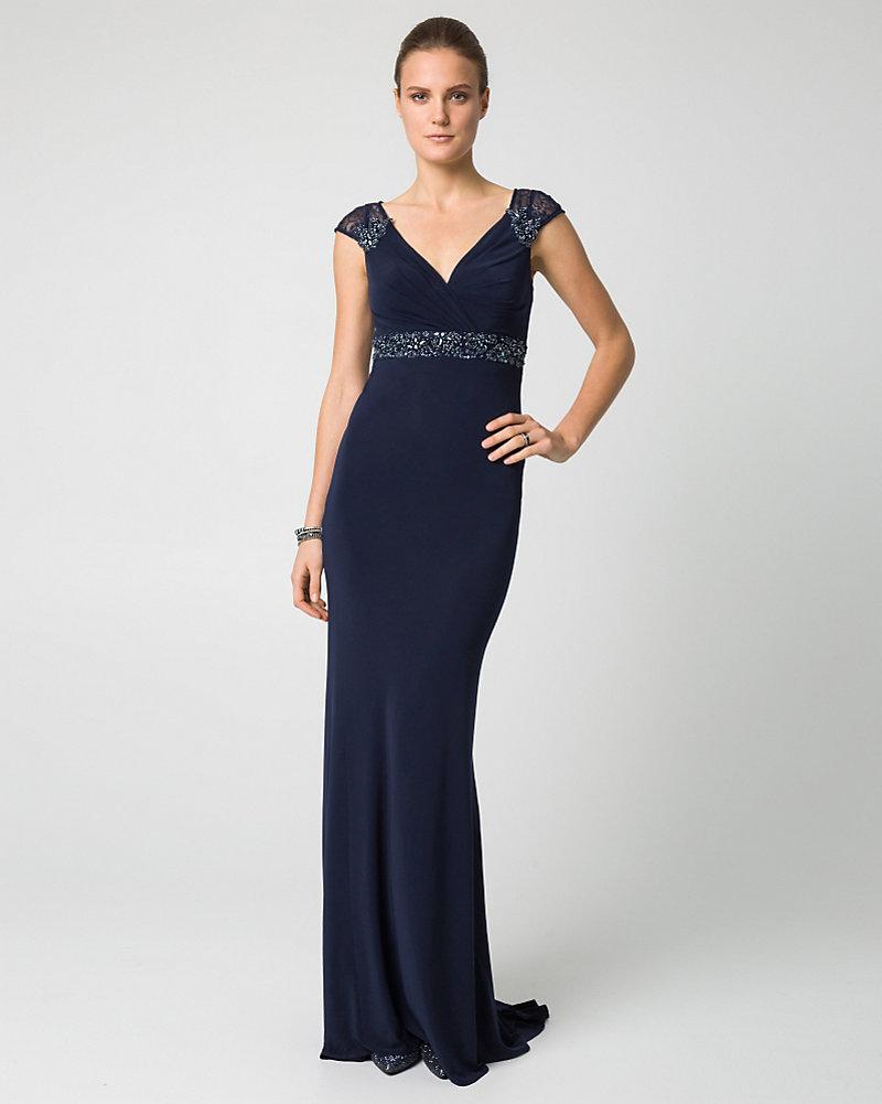 Embellished Jersey Knit V-Neck Gown | LE CHÂTEAU