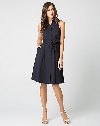 Stretch Poplin Button-Front Shirtdress