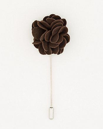 Suede Floral Lapel Pin