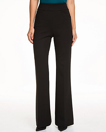Stretch Viscose Blend Flare Leg Pant