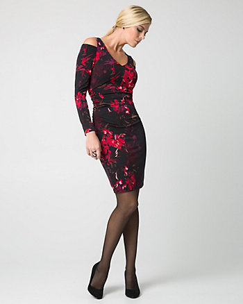 Floral Print Knit V-Neck Cocktail Dress