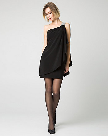 One-Shoulder Knit Cocktail Dress