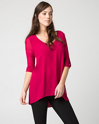 Chiffon V-Neck Tunic Blouse