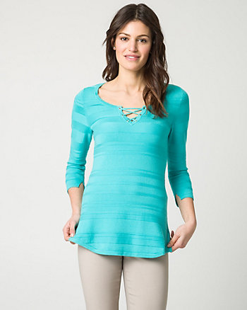 Textured Viscose Blend Lace-Up Sweater