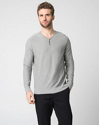 Cotton Slub Henley Sweater