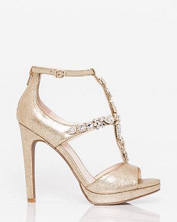 Jewelled Metallic Foil T-Strap Sandal
