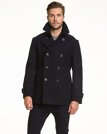 Melton Tailored Fit Peacoat