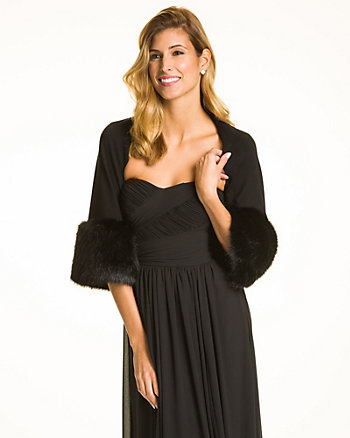 Viscose Blend Shrug with Faux Fur Trim