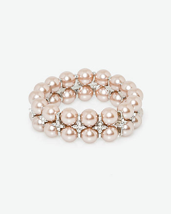 Gem & Pearl-Like Stretch Bracelet