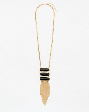 Cabochon Gem Fringe Necklace