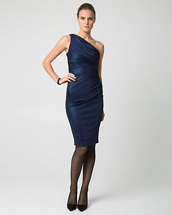 Sparkle Knit One Shoulder Cocktail Dress