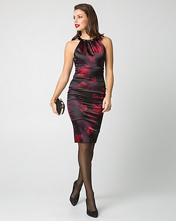 Floral Print Satin Cocktail Dress