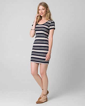 Stripe Jersey Scoop Neck Mini Dress