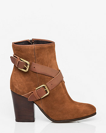 Italian-Made Suede & Leather Ankle Boot