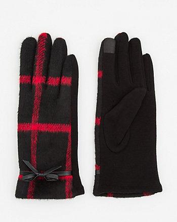 Check Print Knit Touchscreen Gloves
