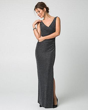 Metallic Knit V-Neck Gown