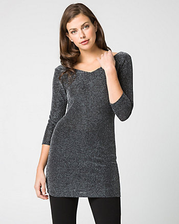 Lurex Knit V-Neck Tunic Top