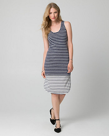 Stripe Jersey Scoop Neck Slit Dress