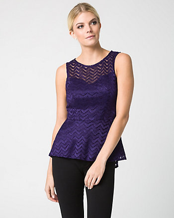 Lace Crew Neck Peplum Top