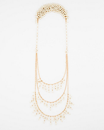 Pearl-Like Front & Back Necklace
