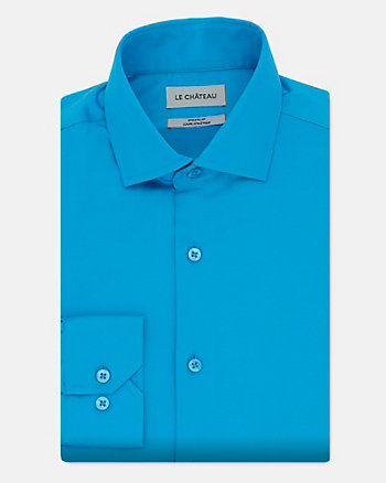 Stretch Cotton Sateen Athletic Fit Shirt