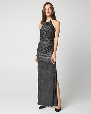 Sparkle Knit Halter Gown