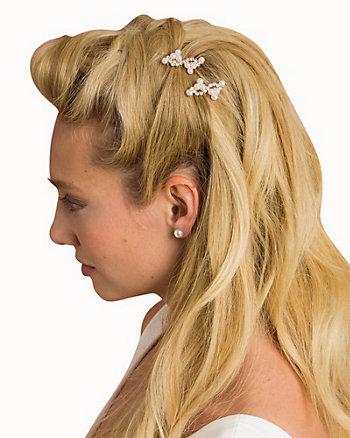 Floral Metal & Pearl-Like Hair Comb