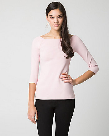 Knit Crêpe Off-the-Shoulder Top