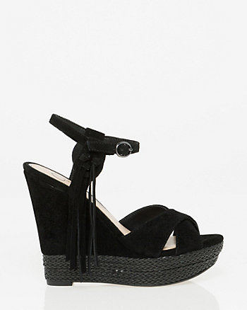 Suede Open Toe Wedge Sandal