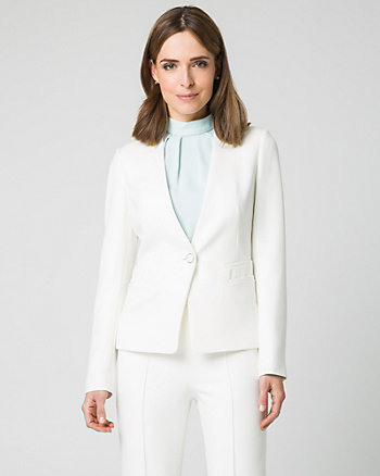Double Weave Raised Collar Blazer