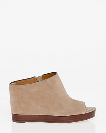 Suede Open Toe Wedge Mule