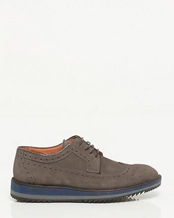 Italian-Made Suede Longwing Derby Brogue