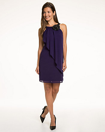 Knit Shantung Halter Neck Dress