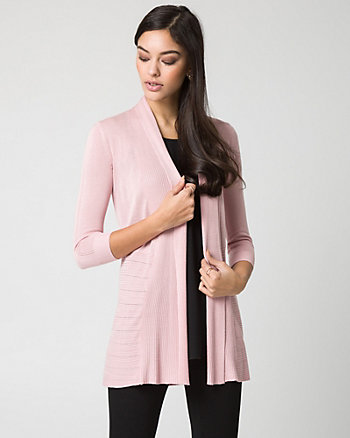 Viscose Blend Open-Front Cardigan