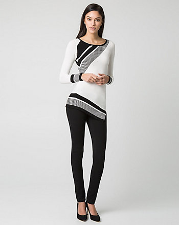 Stripe Viscose Blend Scoop Neck Sweater