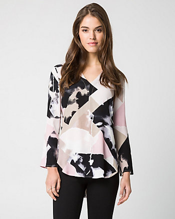 Abstract Print Viscose Blend Tunic Blouse